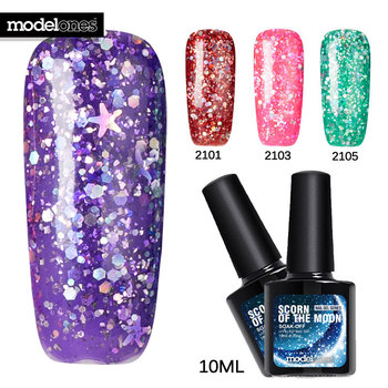 Modelones Colorful Glitter UV Gel Polish Soak-off LED UV Nail Gel Polish Long-lasting 10ML UV Gel Varnish Glitter Nail Art