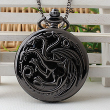 Game of Thrones Family Crests House Targaryen Theme Men Women Pocket Quartz Watch with Necklace Chain Pendant Clock Gift TPB191(China)