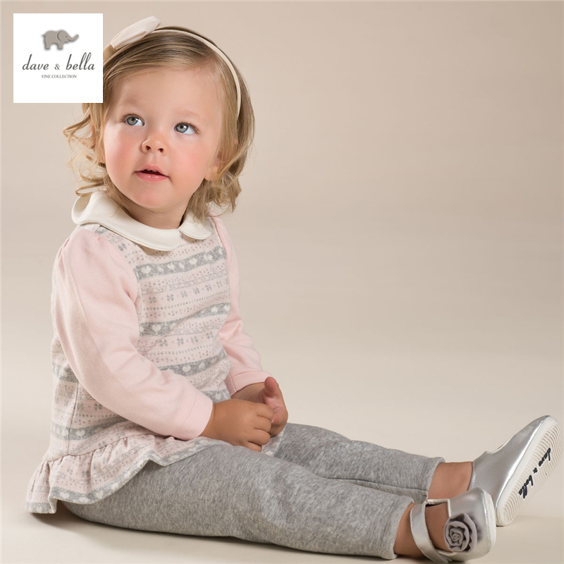 DB3926 dave bella baby girl pink clothing set children sets<br>