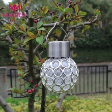 2017 new Waterproof Solar Rotatable Outdoor Garden Camping Hanging LED Round Ball Lights home wedding decoration accessories(China)
