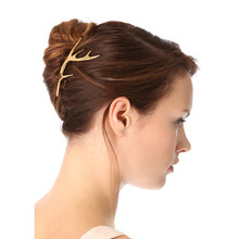 Polished Antler Shaple Barrettes with metal golden hair accessories for women.