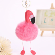 2017 Cute Pink Fluffy Pompom Flamingo Keychain Women Faux Rabbit Fur Ball Pompon Key Chain Car Bag Pom Pom Key Rey Ring Holder(China)