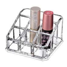 Acrylic Lipstick Holder Cosmetic Organizer Storage Makeup Case 9 Slot Clear(China)