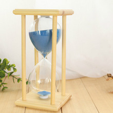 #a The 30 minute crystal hourglass creative wood glass craft ornaments gifts for Valentine's Day blue