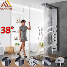 Quyanre Thermostatic Shower Panel Brushed Nickel Black Rainfall Waterfall Shower Faucet Massage SPA Jets Three Handles Mixer Tap(China)