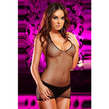 New Design Black Sheer Fishnet Woman Night Wear Garments and Lingerie Girls Babydoll Night Dress Without G-string L2680