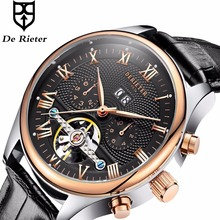 Derieter Classic Automatic Mechanical Skeleton Tourbillon Watch Men Rose Gold Leather Strap Mechanical Wrist Watches Reloj Hombr(China)