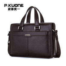 P.KUONE Genuine Leather Man Fashion Briefcase High Quality Business Shoulder Bag Casual Travel Handbag Luxury Brand Laptop Bag(China)