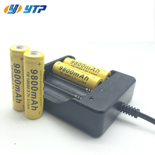 High power 1pic/2 pcs/4pcs 18650 battery 3.7V 9800mAh rechargeable liion battery with charger  for Led flashlight battery 18650