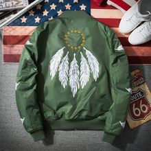 2017 Bomber Jacket Men Pilot with Patches Army Green Thin Pilot Bomber Jacket Men Wind Breaker Jacket Men(China)