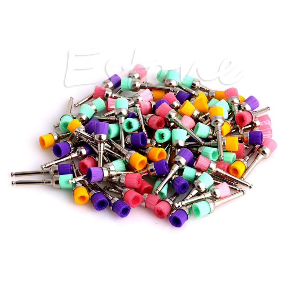 100pcs Durable Dental Nylon Latch Prophy Polisher Color Flat Polishing Brushes<br><br>Aliexpress