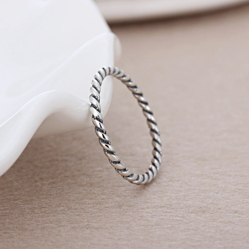 Cuteeco Vintage Simple Silver Pandora Ring Twist Ring For Women Men Copper Rings For Female Engagement Jewelry