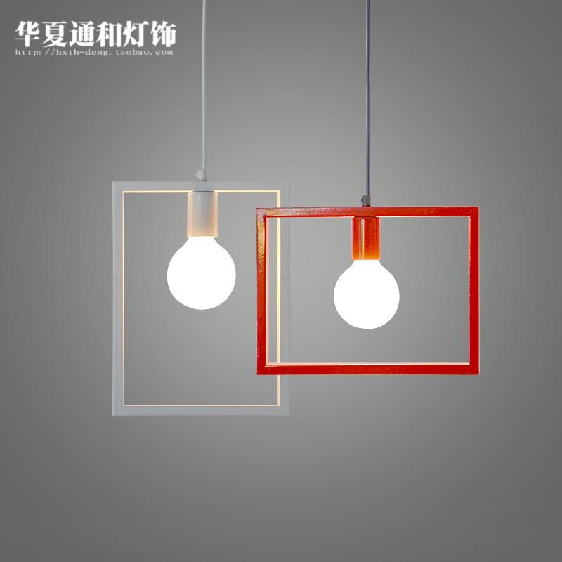 red box Pendant lights newNordic modern pendant light creative bar pendant lamp dining room bedroom living room black and white <br>