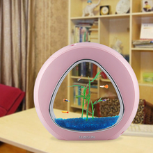 desktop fish tank fish bowl aquarium with water circle oxygen filter system usb power supply