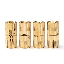 MTGATHER 4PCS 12mm Copper Barrel Hinges Cylindrical Hidden Cabinet Concealed Invisible Brass Hinges Mount New Arrival(China)