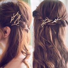 New Arrival 1 Pair Fashion Women Hairpins Girl Barrette Silver Gold Metal Tree Branches Antlers Hair Clips Hair Accessories