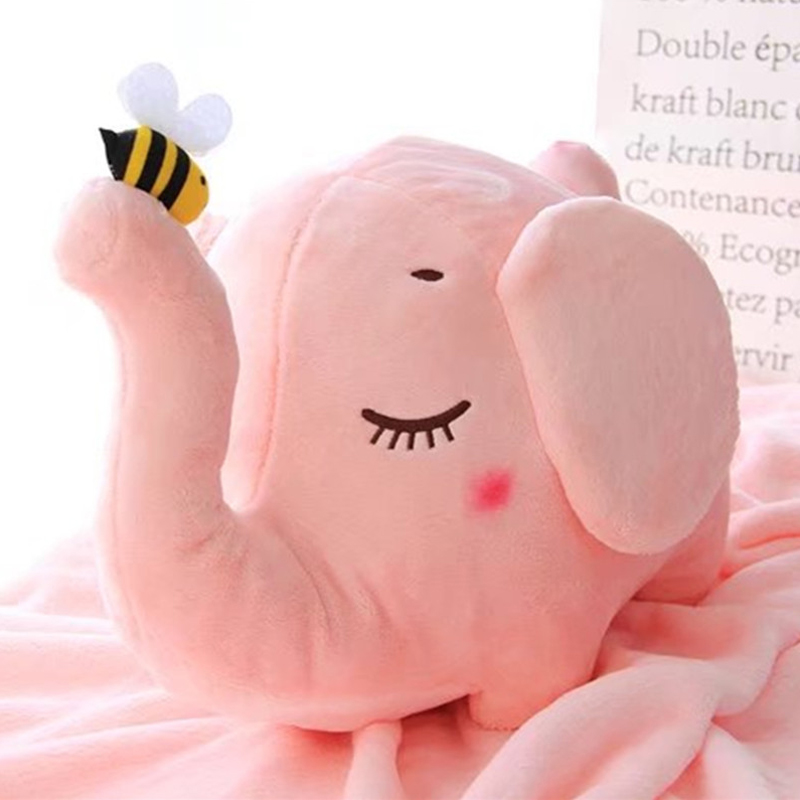 Mamadada 2 In 1 Plush Animal Elephant Soft Cushion Elephant Blanket Children Crochet Newborn Bedding Cover Gifts For Boys Girls<br>