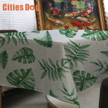 tablecloth Tropical green leaf linen nappe rectangulaire Decorate home wedding tablecloth on the table round table cloth