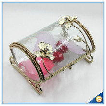 Free Shipping Wedding Favor Wedding Decorative Gift Box Flower Design Watch Box Glass Gift Box(China)