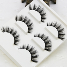 3pcs/lot 100% handmade real mink fur false eyelash 3D strip mink lashes thick fake faux eyelashes Makeup beauty False Eyelashes(China)