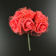 72Pcs Artificial Flowers PE Rose Small Foam Flower Wedding Bride Bouquet DIY Handcraft Wreath Wedding Party Decoration Supplies(China)