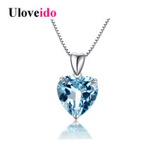 Uloveido Necklaces & Pendants Necklace Women Silver 925 Jewelry Collier Chain Colar Blue Heart Suspension with Box 40% Off LN002(China)