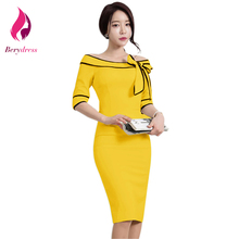 New Spring Yellow Sheath Pencil Dress Female with Sleeves Slash Neck Knee Length Vintage Dresses 2017 Bow Work Vestido De Festa