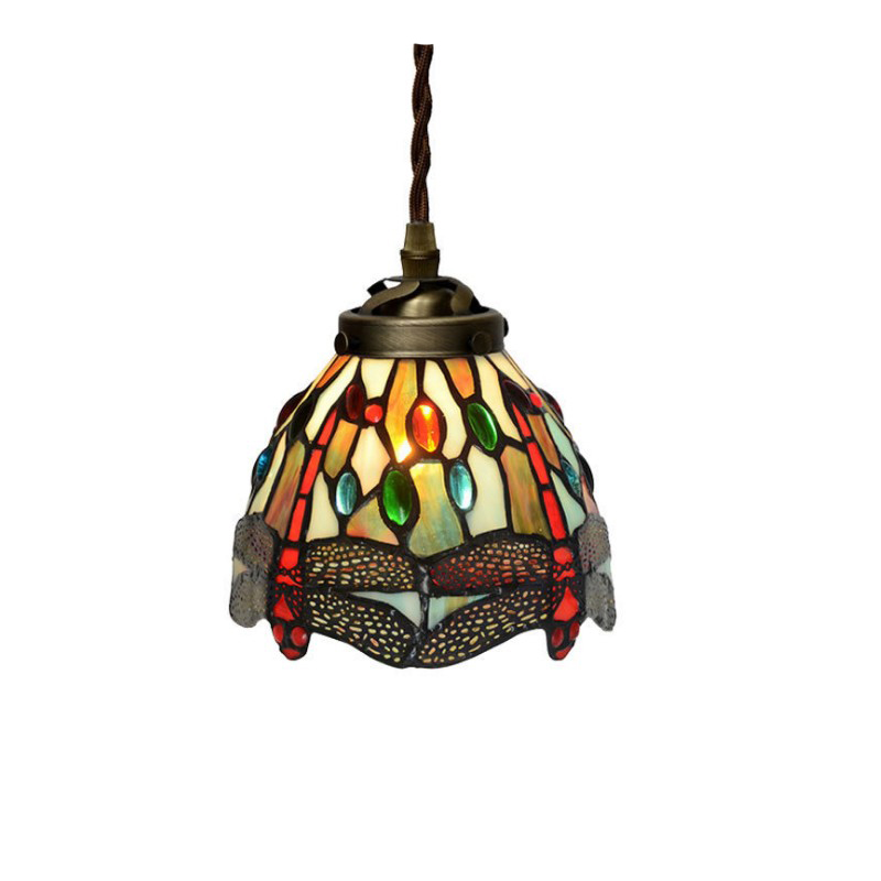 Retro Stained Glass Jewel Dragonfly Samll Single LED Hanging Cord Pendant Lamp Light Cord Bar Cafe Restaurant Tabletop Lighting<br>