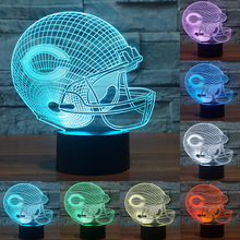 NFL Team Logo 3D Light Chicago Bears Football Helmet Sport Cap 3d LED Night Light colorful table desk Lamp touch switch IY803657(China)