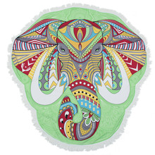 Green Elephant Round Mandala Beach Towel Tassel Fringing Beach Throw Round Mat Table Cloth Wall Tapestries Polyester 150x150cm
