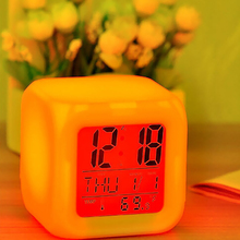 7 LED Colour Changing Digital LCD Alarm Clock Thermometer Date Time Night Light(China)