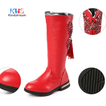 Kindstraum 2017 New Kids Winter Snow Boots Warm Bling PU Girls Shoes Children Plush Fashion High Tube Zip Rubber Shoes,BBJ017(China)