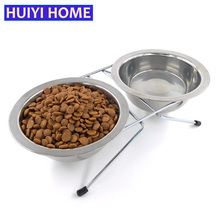 Huiyi Home Double Stainless Steel Pet Dog Bowls 3 Sizes Removable Cat Food Bowl Pets Feeder Products For Small Animals ENI011(China)