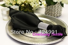 Black Satin Napkin 45cmx45cm For Wedding Event &Party Decoration(China)