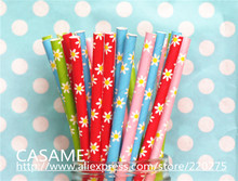 New party lovely flower Straws 25pcs colorful drinking paper straws for party wedding party