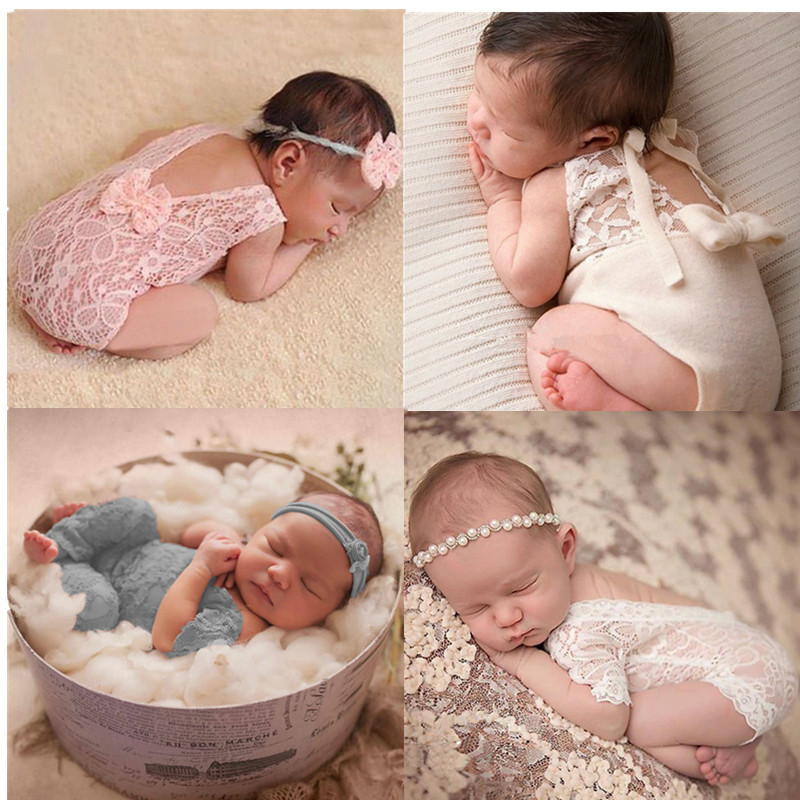 Newborn Photography Props Newest Baby Product Studio Photography Accessories Lace Romper Back Tie Girls Outfit Baby Gift Photo(China)