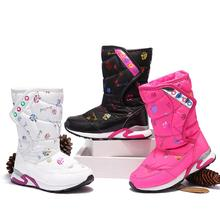 2017 Children Warm Fashion Winter Snow Shoes Children Girls Cotton Boots High Boots Waterproof Snow For Girls Winter Shoes(China)