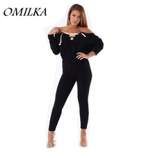 OMILKA 2017 Autumn Winter Women Long Sleeve V Neck Lace Up Bodycon Rompers and Jumpsuits Casual Black Club Party Bandage Overall(China)