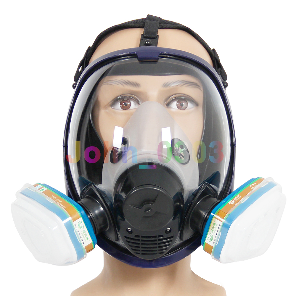 2 in 1 Function 7 Pcs Suit 6800 Painting Spraying Full Face Respirator Gas Mask Breather<br>