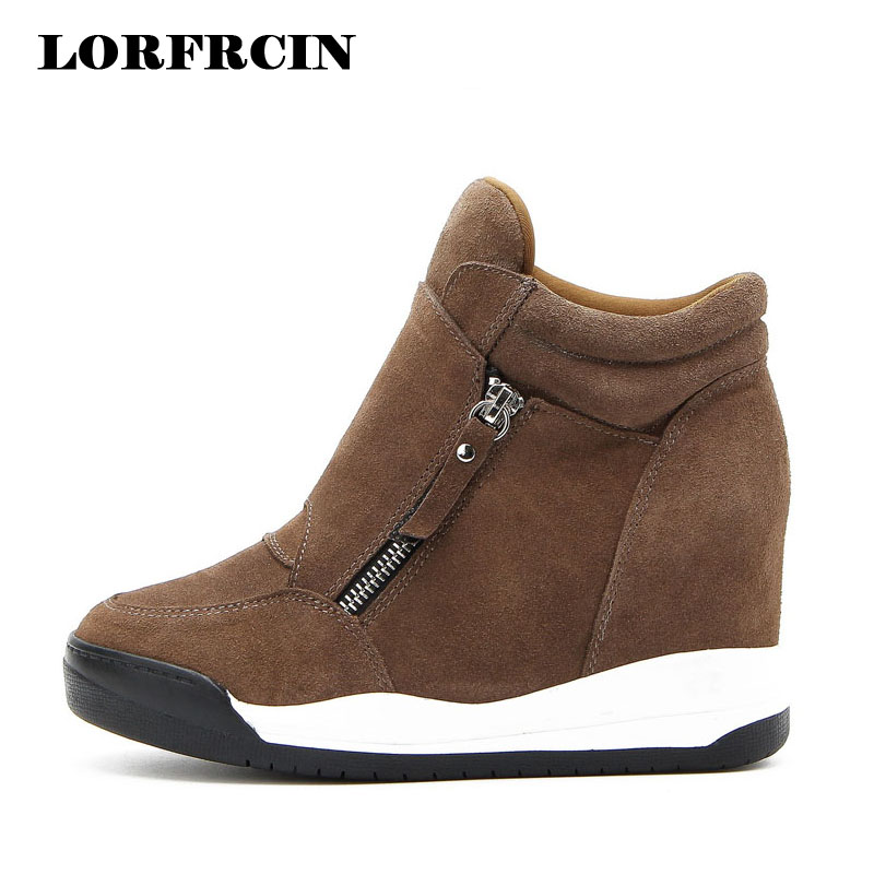 LORFRCIN 2017 Wedge Shoes Hidden Heels Womens Elevator Shoes Casual Shoes For Women With Zipper Wedge Black Brown High heels<br>