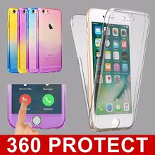 Soft Case for Iphone 6 6s 7 Plus Apple Shockproof 360 Full Protector Front Back Touch Screen Silicone Protective Clear Cover tpu