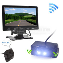 7 inch Touch Button Ultra-thin Car Monitor + LED Rear View Car Camera Wireless Parking Radar Sensor Assistance System Kit