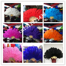 NEW 12pcs Dance natural Ostrich Feathers Fan for Belly Dance Halloween Party Ornament Necessary 13 Bones Fan stage performance