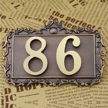 2 Digits bronze classical European Style Pure copper house Gate number card Villa apartment number four digits Free Shipping(China)