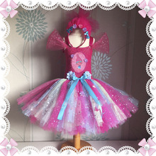 Free Shipping Sparkly Princess Costume Trolls Tutu Dress Inspired Handmade Knee Length Flower Girl Fully Dresses Size 2-8Y