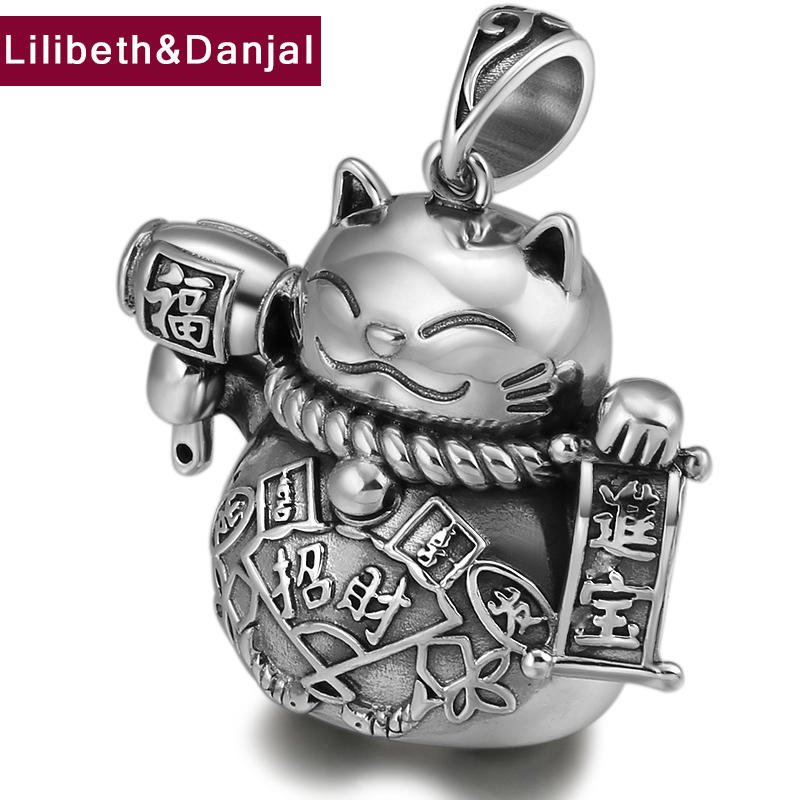 2019 Fashion Creative Lucky Blessing Cat Pendant 100% Real 925 Sterling silver Jewelry Men Women Necklace Pendant Jewelry P33