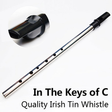 C Key Irish Tin Whistle Metal Flute Musical Instrument Tinwhistle Feadog Vertical Ireland Pocket Mini Recorder Flauta Feadan Hot(China)