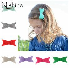 NISHINE Handmade Felt Bows WITH Clips For Baby Girls And Children Felt Bow Felt Hairbow Children Hairpins Hair Accessories(China)