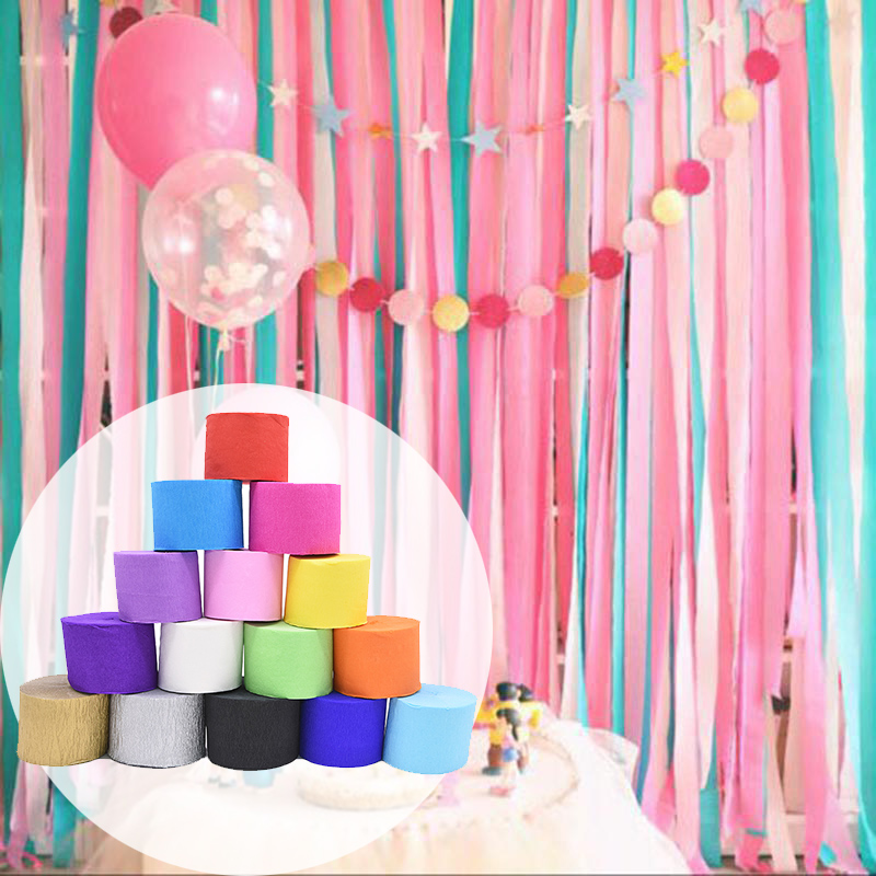 25M 4.5CM Wrinkled Crepe Paper Streamers Colorful DIY Craft Origami Paper for Kids Birthday Party Backdrop Decoration Curtains