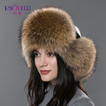 Women's fur hat for winter genuine leather fur tapper hat with fur pom pom ear protect bomber hats Russian Ushanka caps(China)